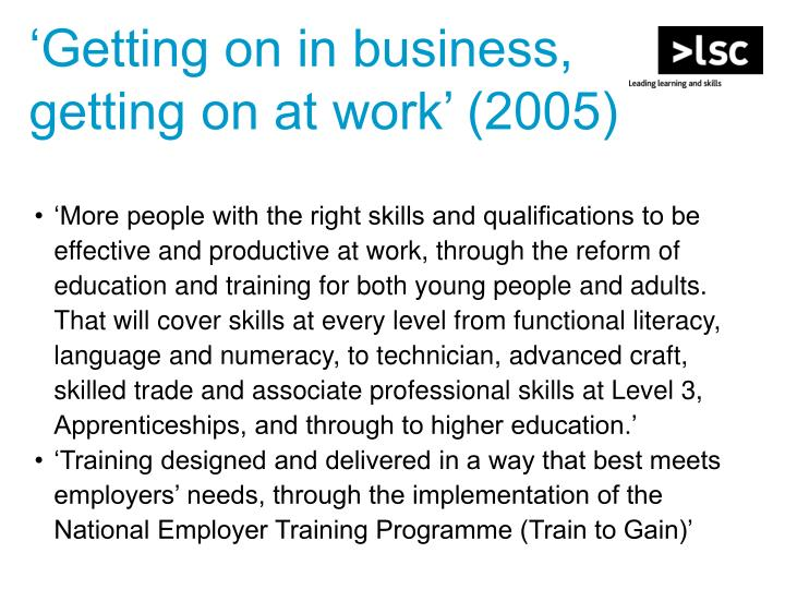'Getting on in business, getting on at work' (2005)
