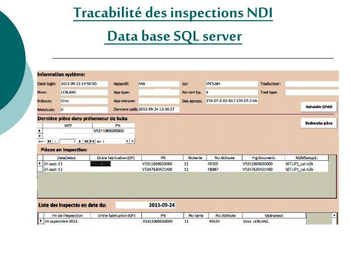 Tracabilité des inspections NDI