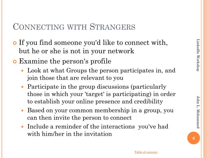 Connecting with Strangers