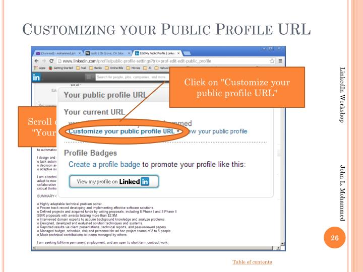 Customizing your Public Profile URL
