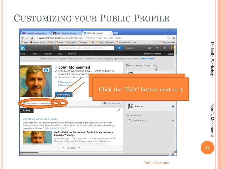Customizing your Public Profile