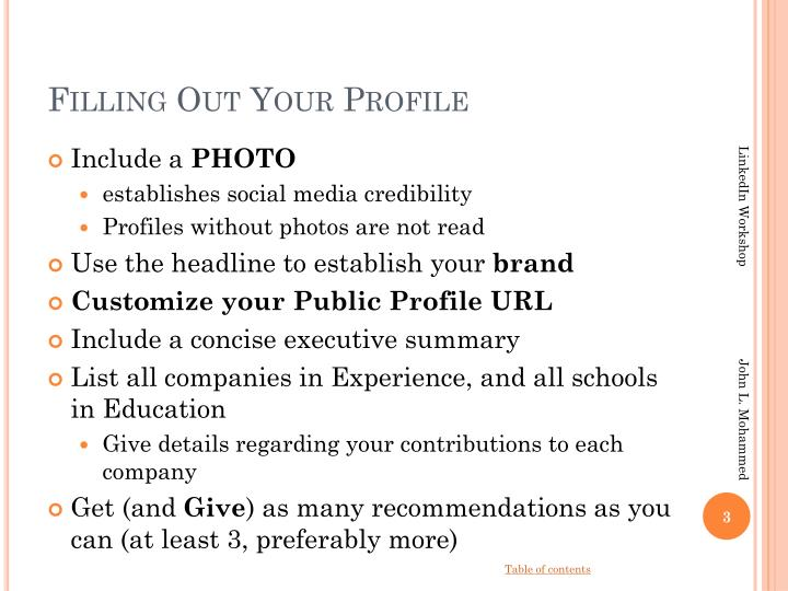 Filling out your profile