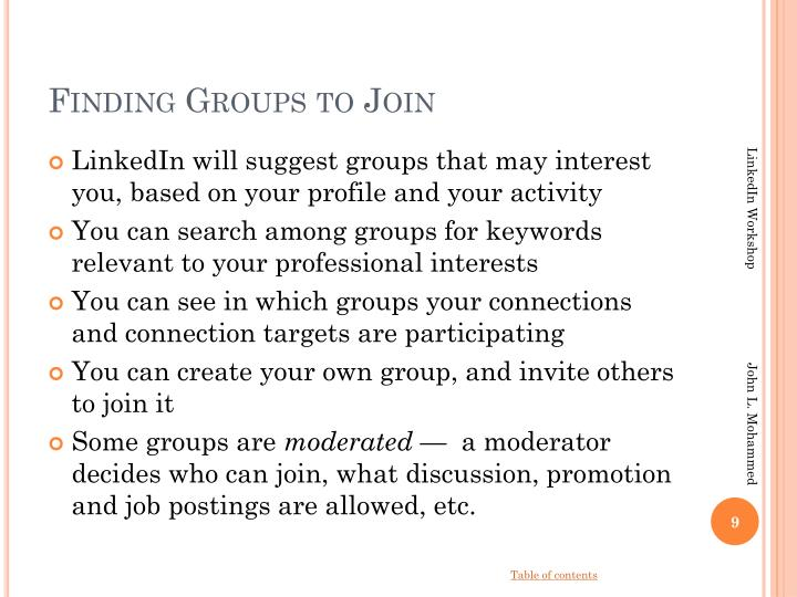 Finding Groups to Join