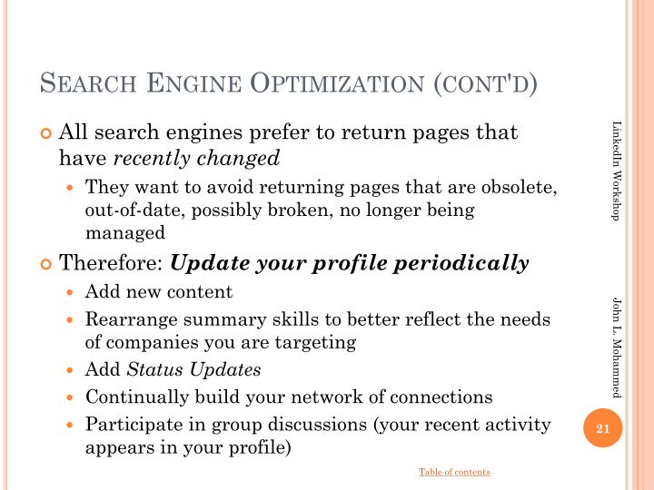 Search Engine Optimization (cont'd)