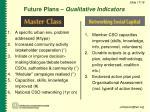 future plans qualitative indicators