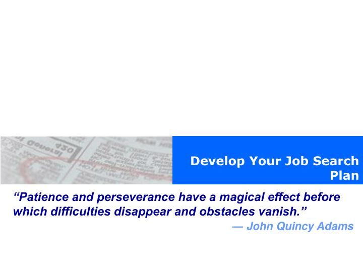 Develop Your Job Search