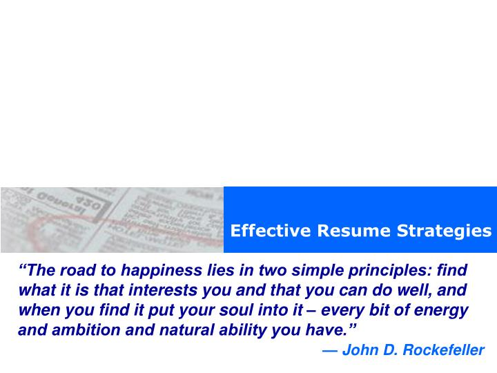 Effective Resume Strategies