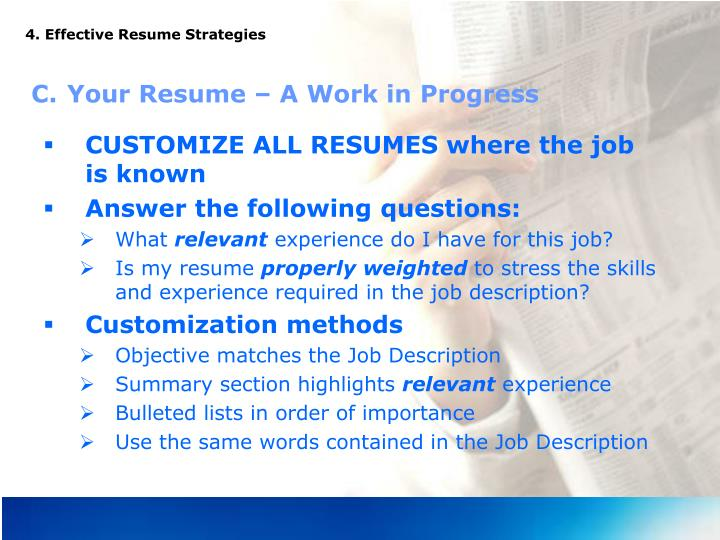4. Effective Resume Strategies