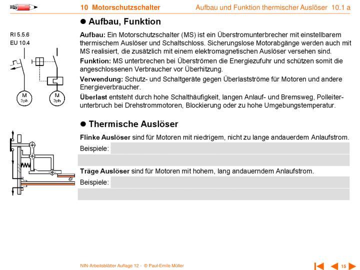 Aufbau und Funktion thermischer Auslöser  10.1 a