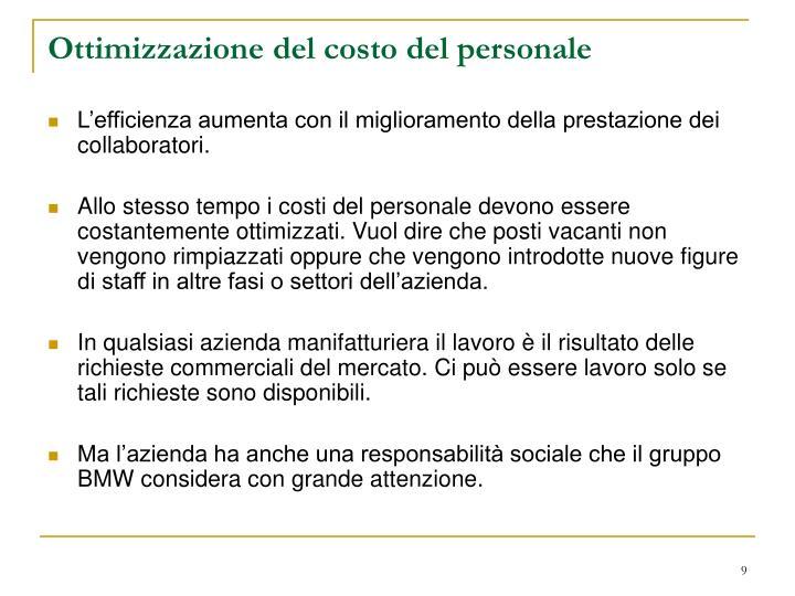 Ottimizzazione del costo del personale