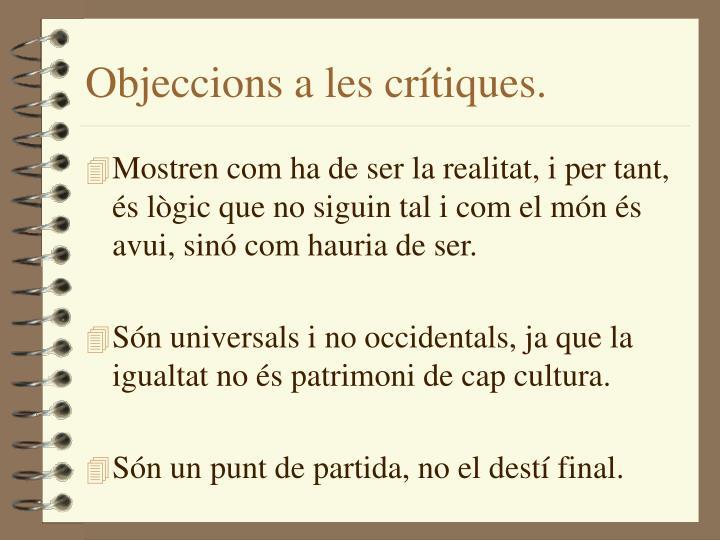 Objeccions a les crítiques.