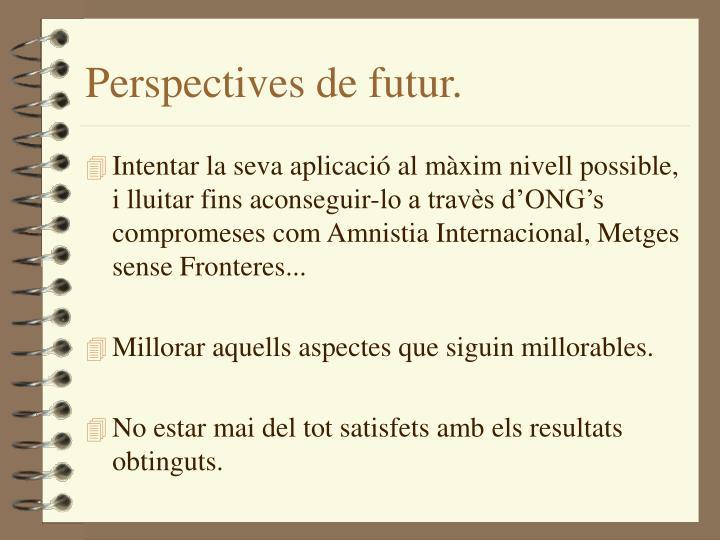 Perspectives de futur.