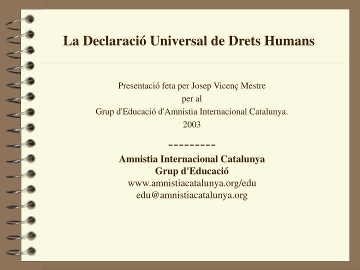 La Declaració Universal de Drets Humans