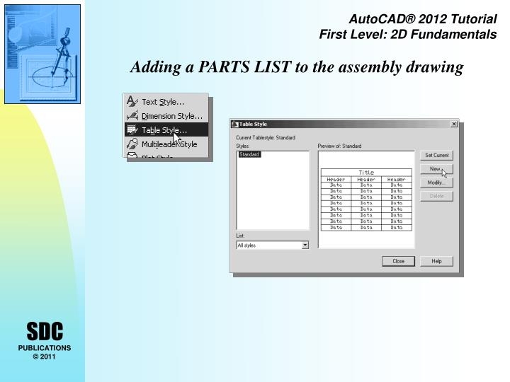 Adding a PARTS LIST to the assembly drawing