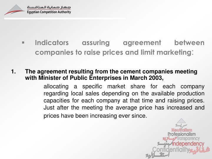 Indicators assuring agreement between companies to raise prices and limit marketing