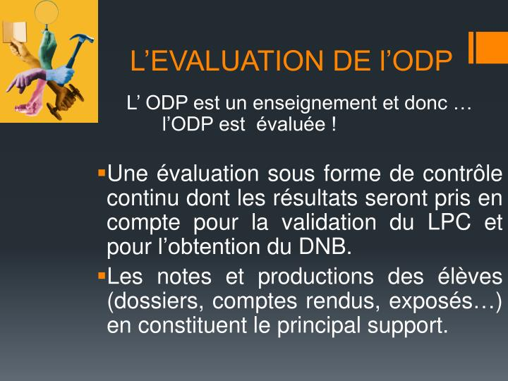 L'EVALUATION DE l'ODP