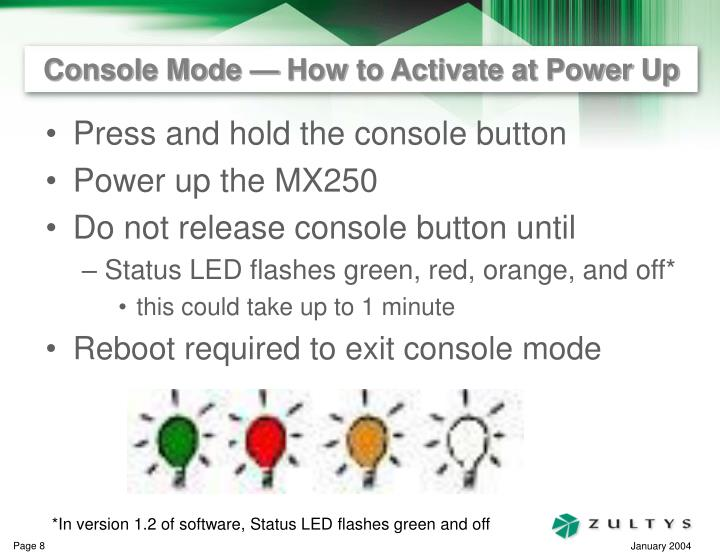 Console Mode — How to Activate at Power Up