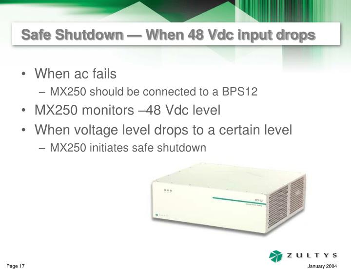 Safe Shutdown — When 48 Vdc input drops