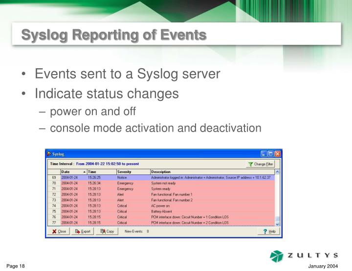 Syslog Reporting of Events