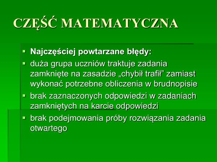 CZĘŚĆ MATEMATYCZNA