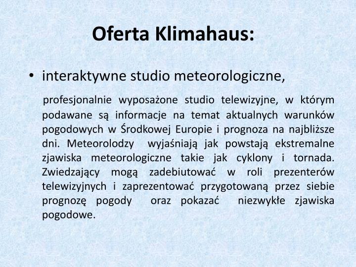 Oferta Klimahaus: