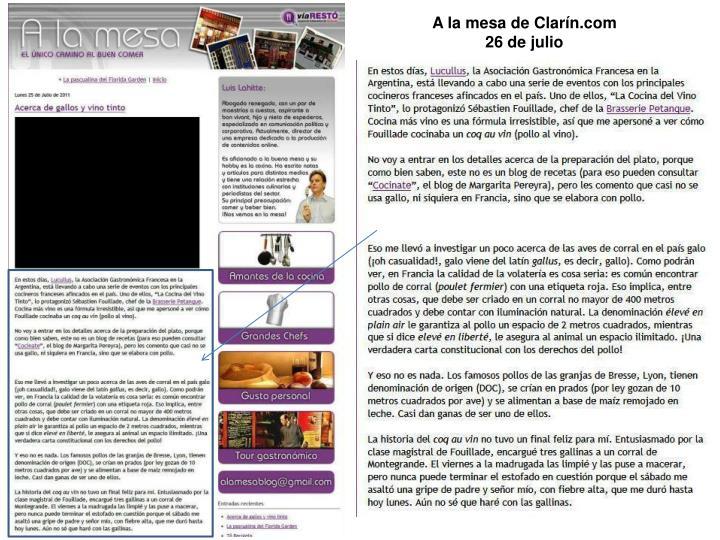 A la mesa de Clarín.com