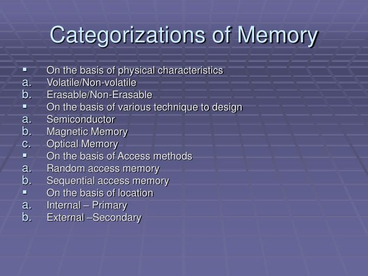 Categorizations of Memory