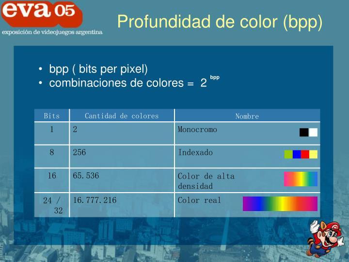 Profundidad de color (bpp)