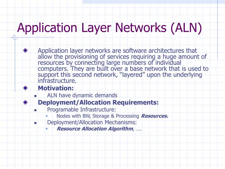 Application layer networks aln