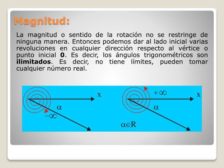 La magnitud o sentido de la rotación no se restringe de ninguna manera. Entonces podemos dar al lado inicial varias revoluciones en cualquier dirección respecto al vértice o punto inicial