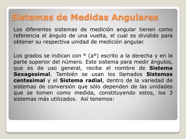 Los diferentes sistemas de medición angular tienen como referencia el ángulo de una vuelta, el cual es dividido para obtener su respectiva unidad de medición angular.