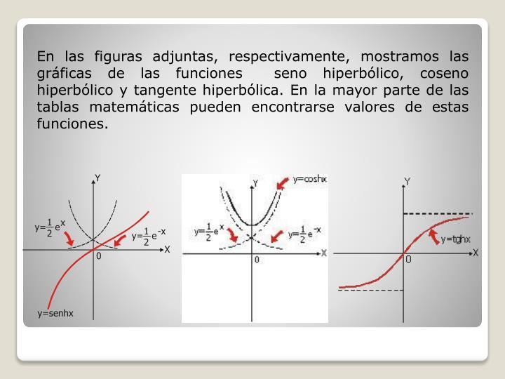 En las figuras adjuntas, respectivamente, mostramos las gráficas de las funciones  seno hiperbólico, coseno hiperbólico y tangente hiperbólica. En la mayor parte de las tablas matemáticas pueden encontrarse valores de estas funciones.