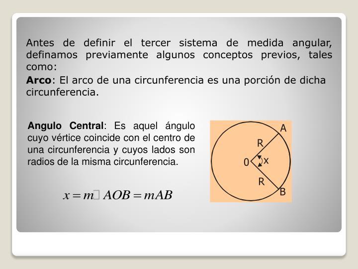 Antes de definir el tercer sistema de medida angular, definamos previamente algunos conceptos previos, tales como: