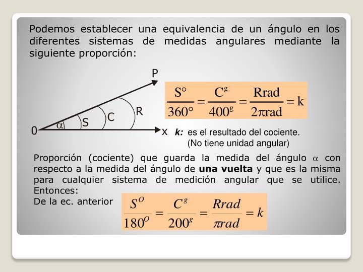 Podemos establecer una equivalencia de un ángulo en los diferentes sistemas de medidas angulares mediante la siguiente proporción:
