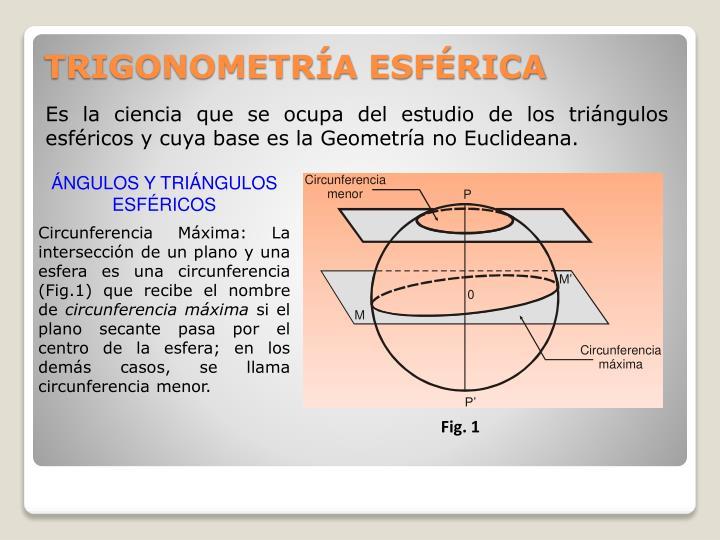 Es la ciencia que se ocupa del estudio de los triángulos esféricos y cuya base es la Geometría no