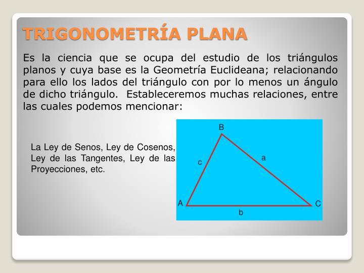 Es la ciencia que se ocupa del estudio de los triángulos planos y cuya base es la Geometría