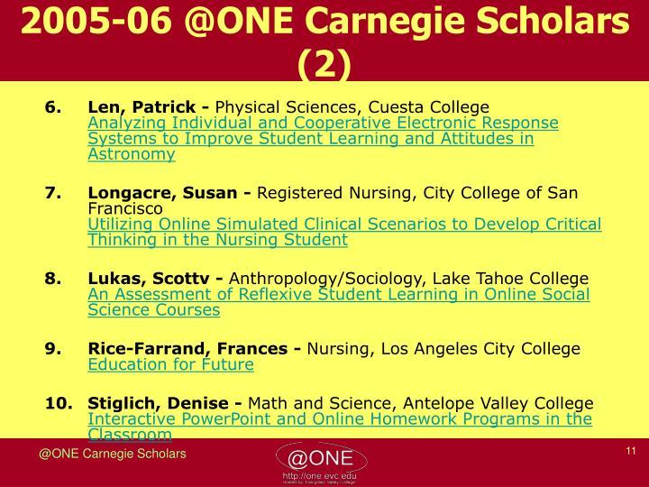 2005-06 @ONE Carnegie Scholars (2)