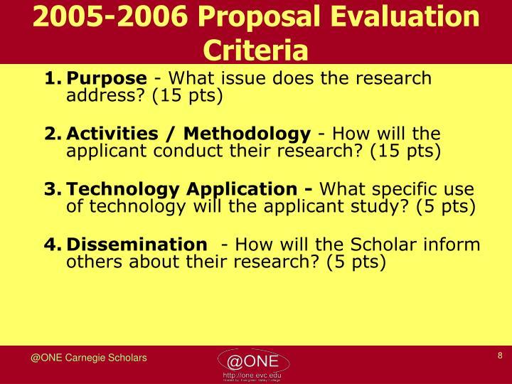 2005-2006 Proposal Evaluation Criteria