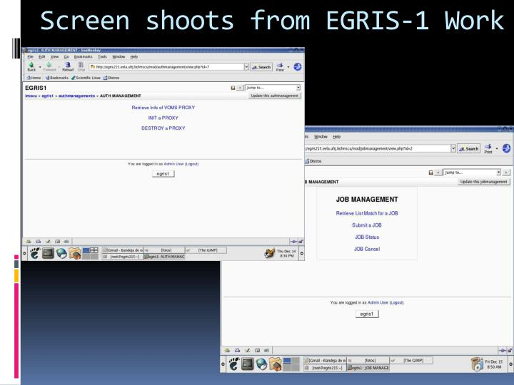 Screen shoots from EGRIS-1 Work
