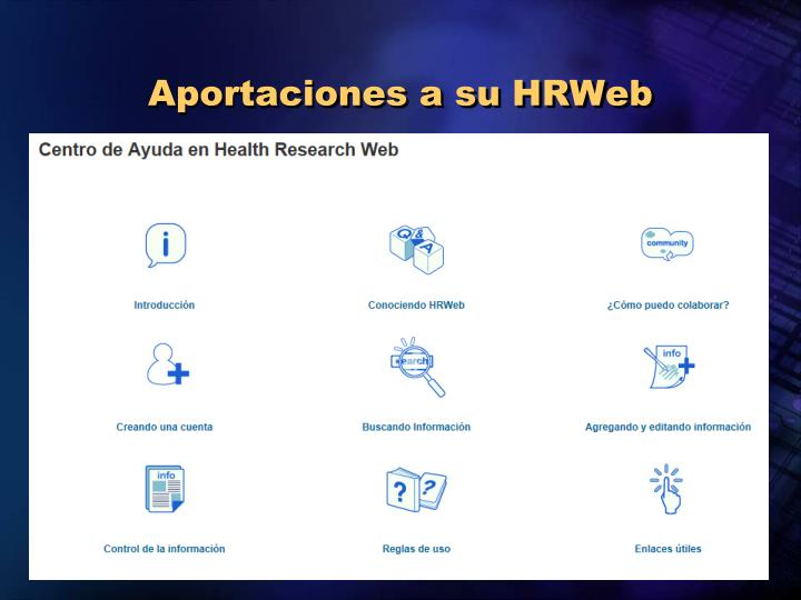 Aportaciones a su HRWeb