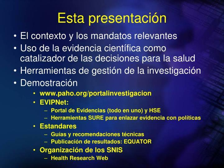 Esta presentación