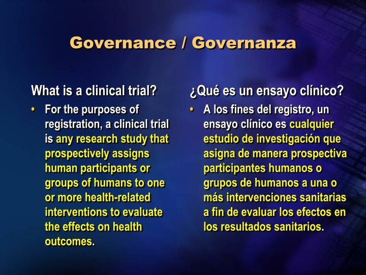 Governance / Governanza
