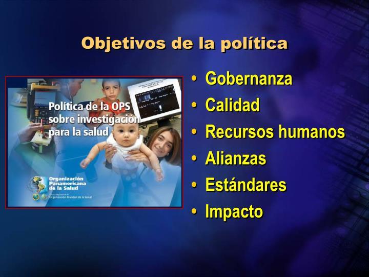 Objetivos de la política