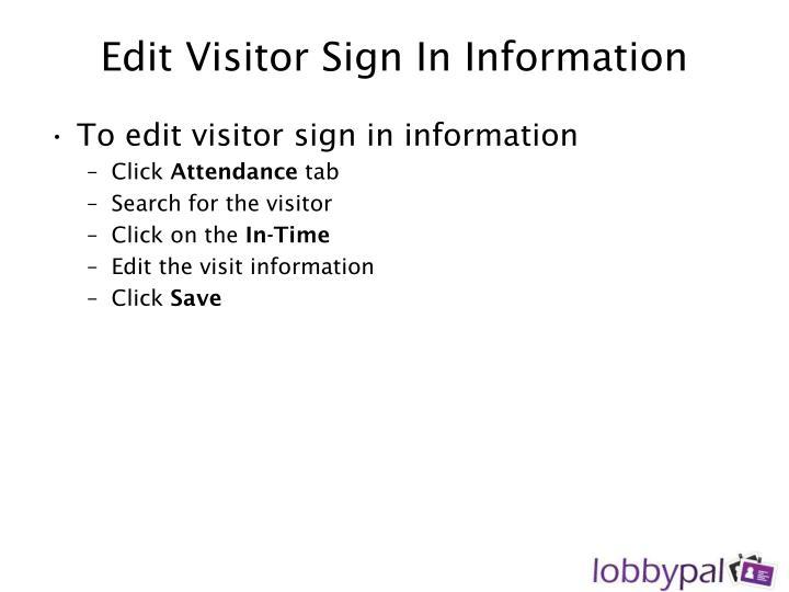 Edit Visitor Sign In Information