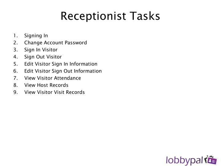 Receptionist Tasks