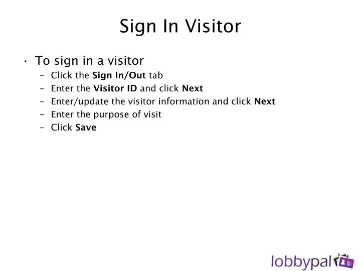 Sign In Visitor