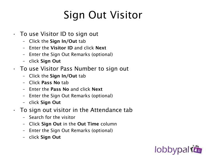 Sign Out Visitor