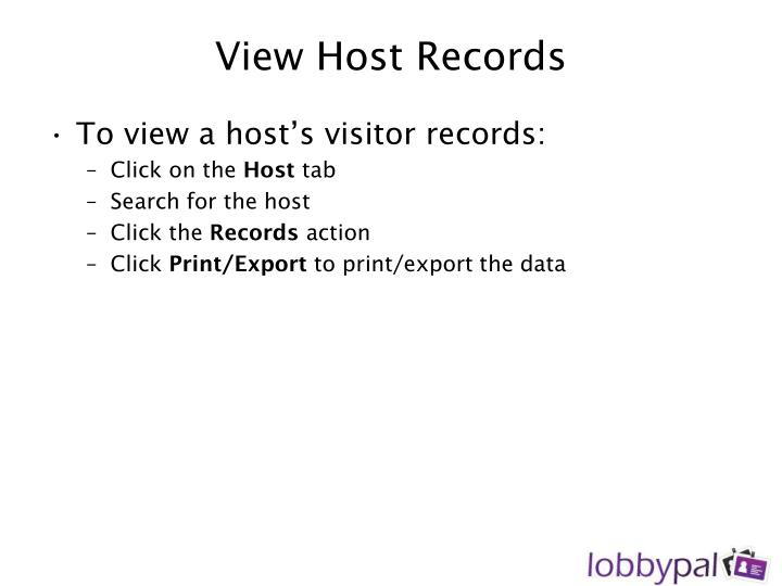 View Host Records