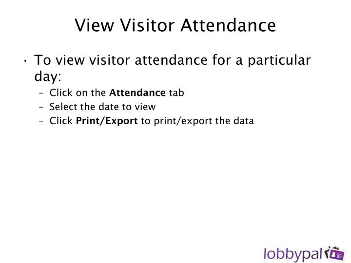 View Visitor Attendance