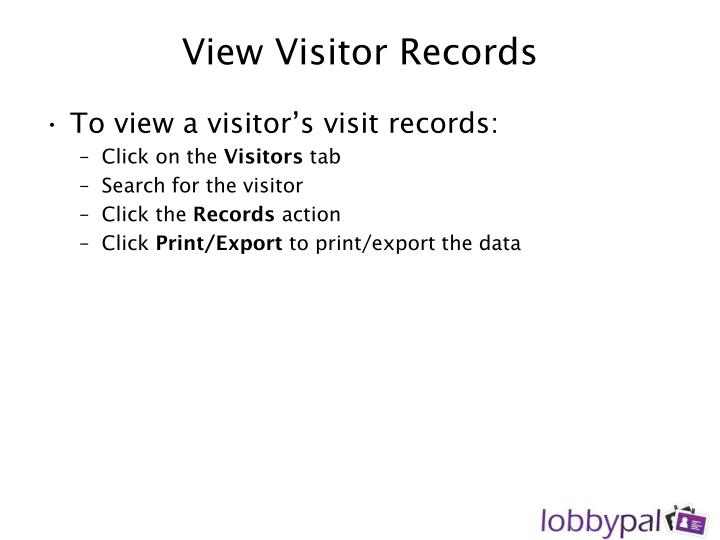 View Visitor Records